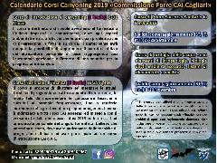"""Calendario Corsi Canyoning 2019 """"Commissione Forre CAI Cagliari"""""""